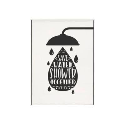 Wash Brush Flush Inspirational Quotes | Unframed Canvas Art unique and elegant Canvas print - Wall Art Shower time / 40x50 cm