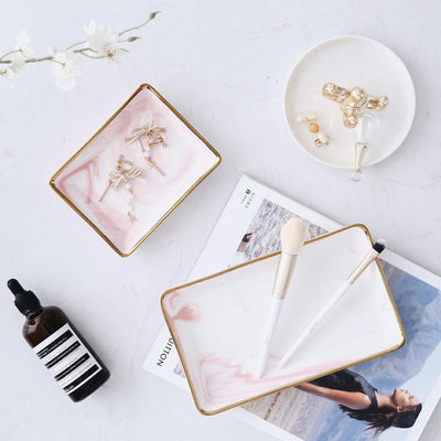 Angebianco Rose Marble Tray/Serving Tray