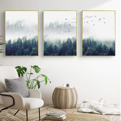 Fabulous Trio Foggy Forest | Zenk Canvas print - Wall Art A+B+C / 60x90cm