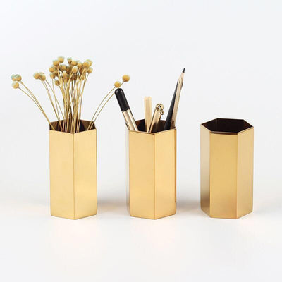 Oxo by Bjorkman Fluttergold Golden Vase/Pen Holder Hexagonal Vase