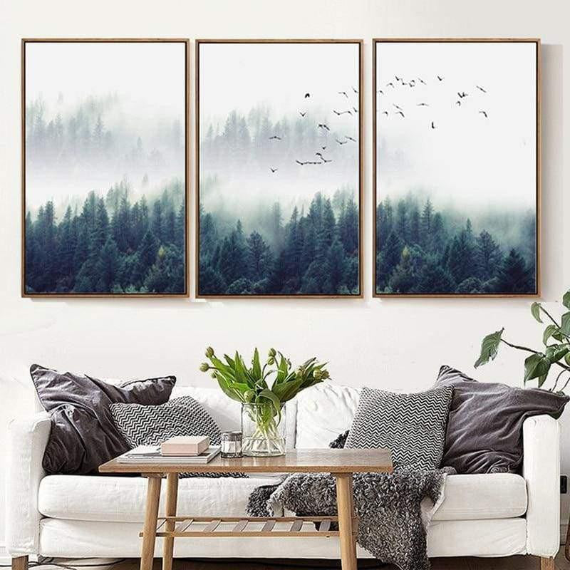 Fabulous Trio Foggy Forest | Zenk Canvas print - Wall Art