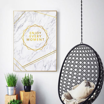 Fabulous Gold Marble Canvas print - Wall Art Stamp on marble / 50X70cm