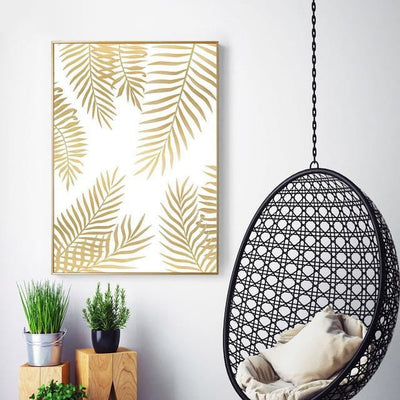 Fabulous Gold Marble Canvas print - Wall Art Golden leaf / 50X70cm