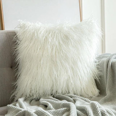 Comfy Fluffy Faux Celiné Cushion Pillow White / 60x60cm