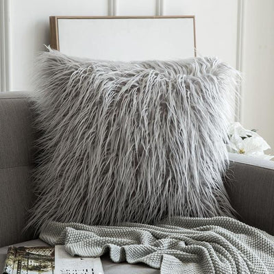 Comfy Fluffy Faux Celiné Cushion Pillow Light Gray / 60x60cm