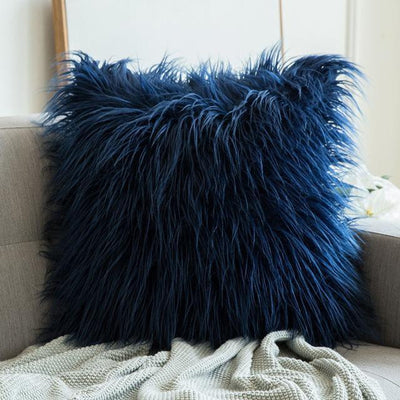 Comfy Fluffy Faux Celiné Cushion Pillow Blue / 60x60cm