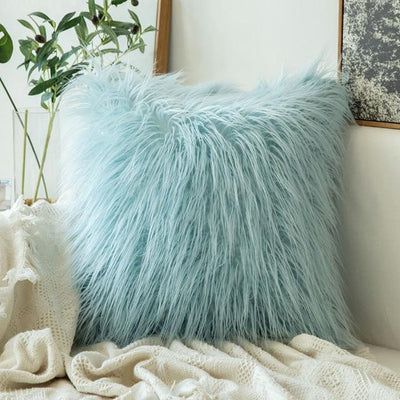 Comfy Fluffy Faux Celiné Cushion Pillow Water Blue / 60x60cm