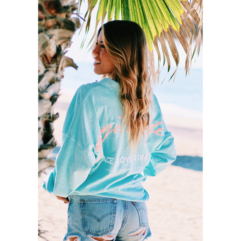 Gigi Long Sleeve Tee- Mint Paisley