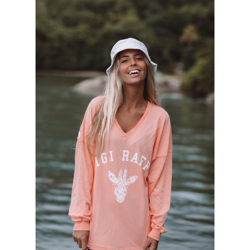 V-neck Coral Long Sleeve