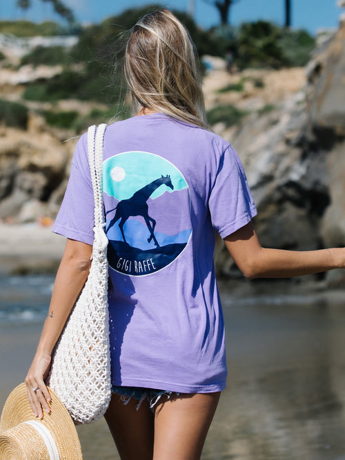Gigi Circle Pocket Tee- Violet