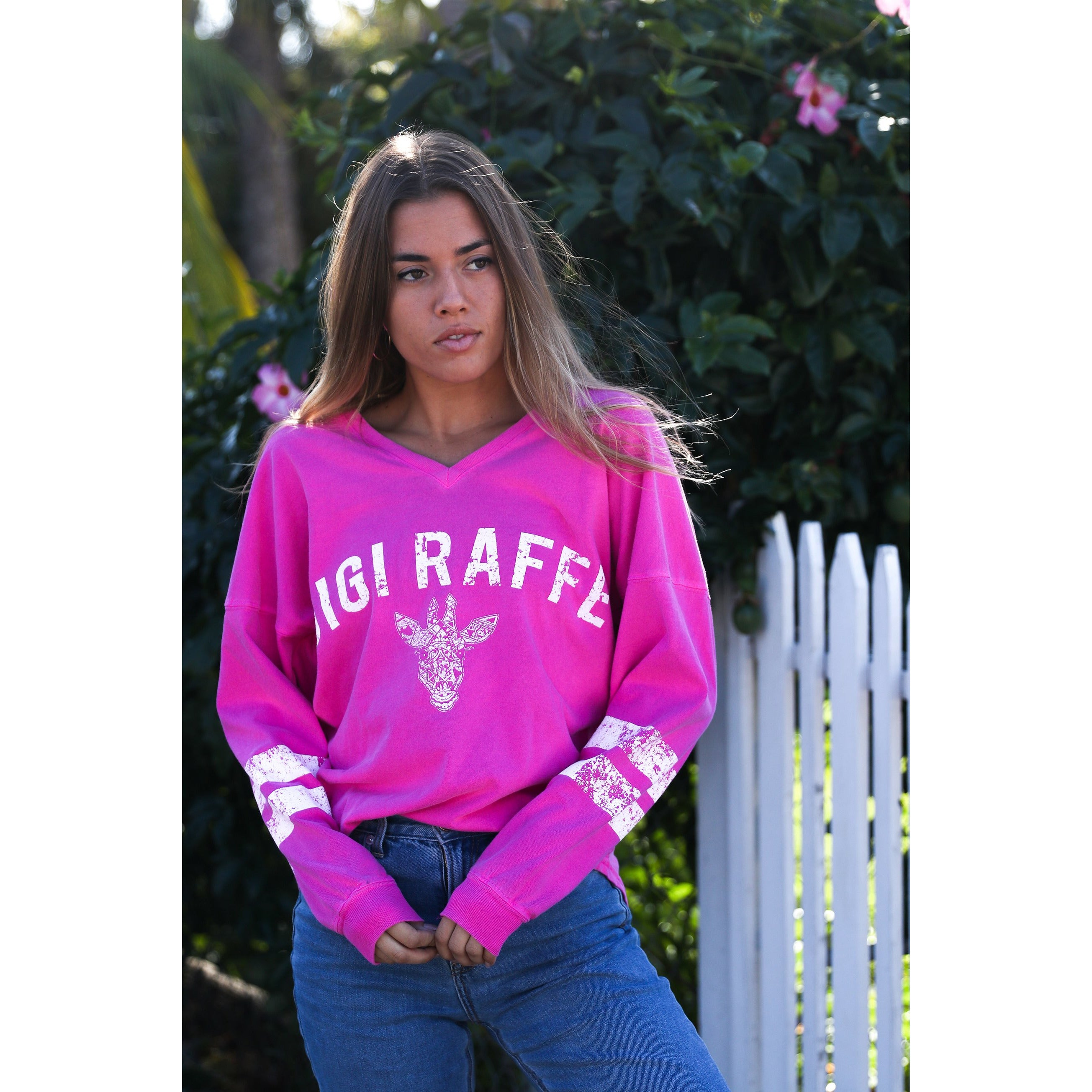 V-neck Fuchsia Long Sleeve