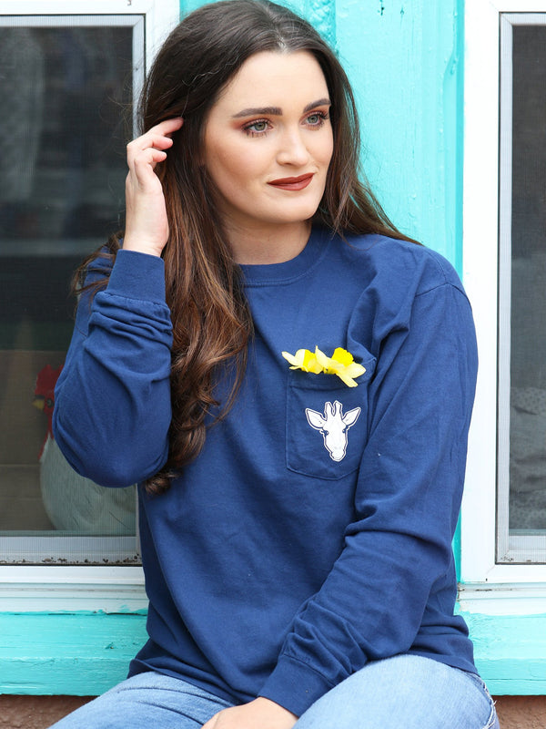 Gigi Mandala - Navy Long Sleeve Pocket Tee