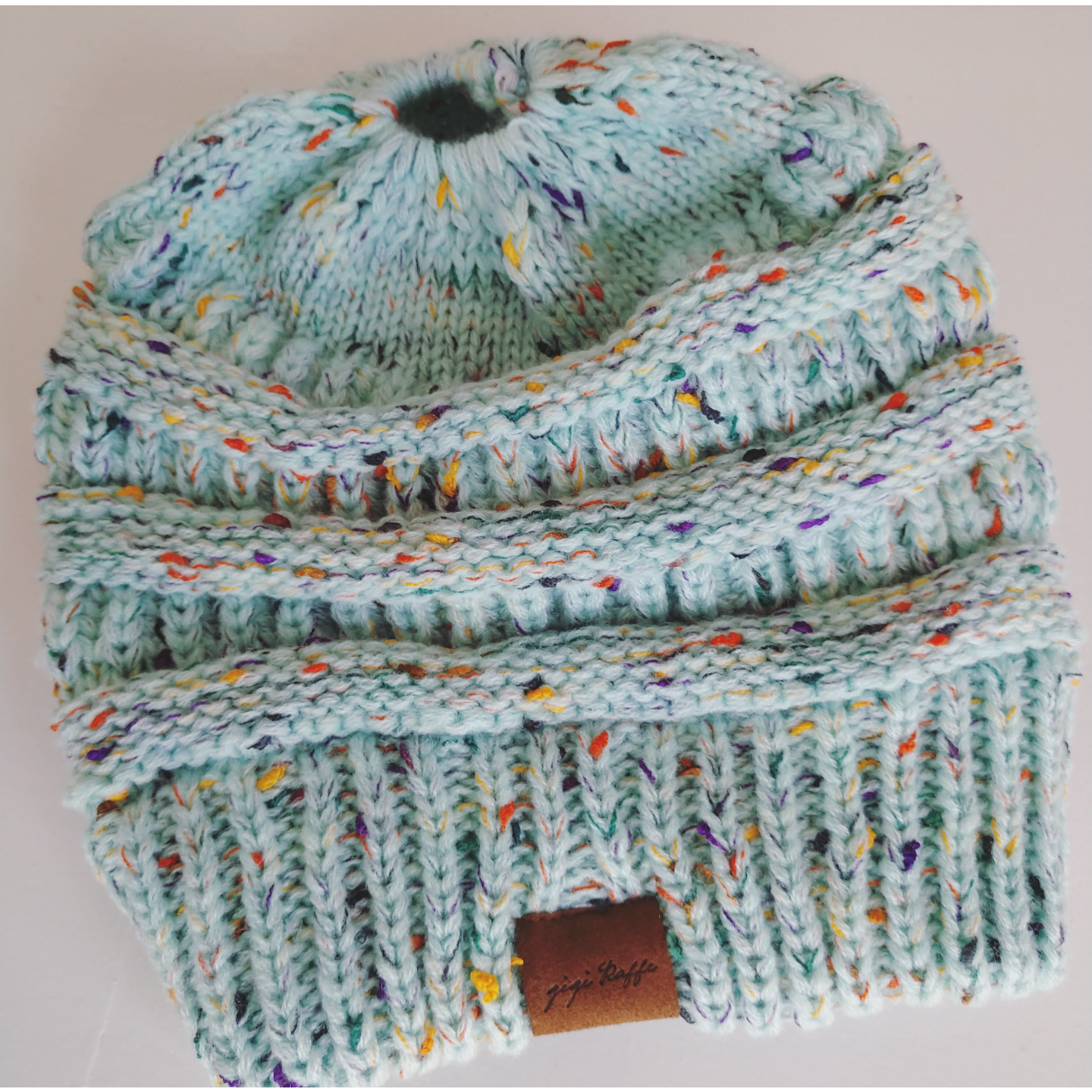 Messy Bun Beanie- Speckled Turquoise