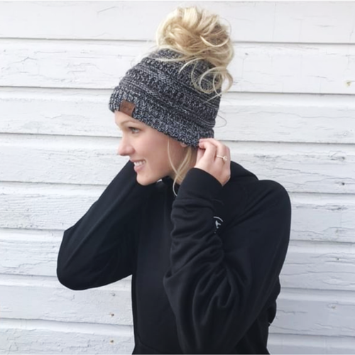 Messy Bun Beanie- Marbled Grey