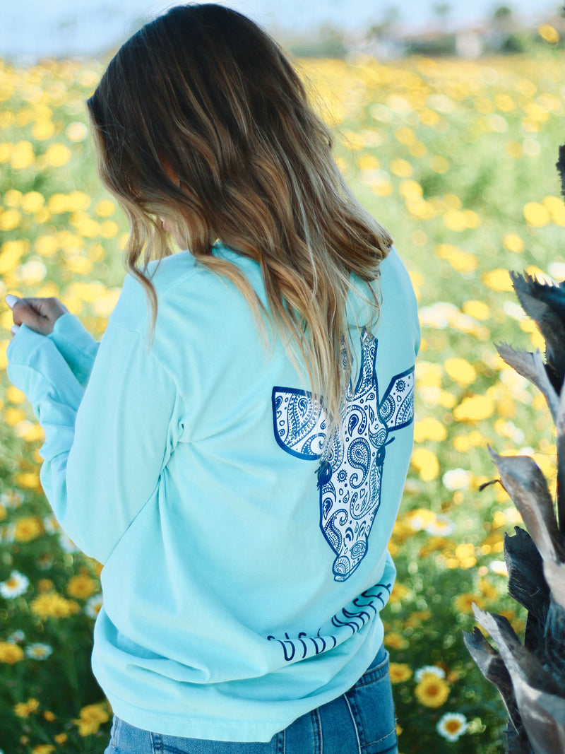 Gigi Mint Paisley- Long Sleeve Tee