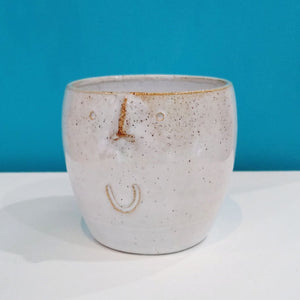 Small Footless Face Pot White