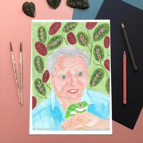 David Attenborough with Frog A4 Print