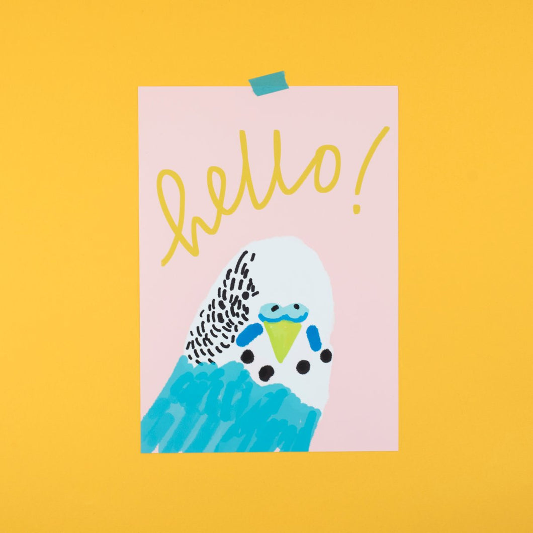 Bright Budgie A4 Print