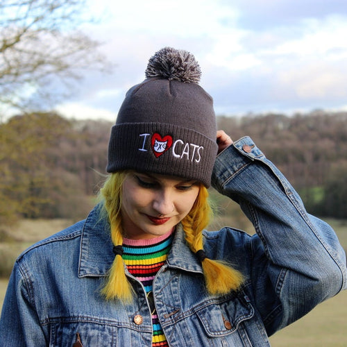 I Love Cats Bobble Hat
