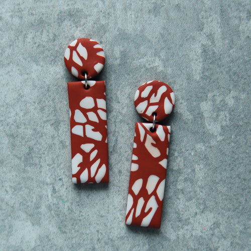 Dot & Dash Earrings (Rust & White)