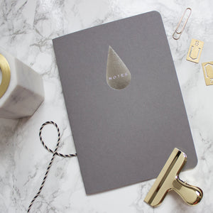 Grey Silver Raindrop A5 Notebook