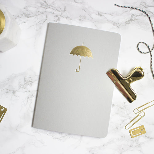 Grey Gold Umbrella A5 Notebook