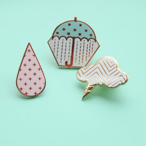 Set of 3 Pastel Weather Pins Set