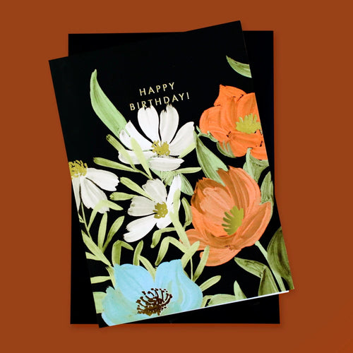 Illustrated Floral Birthday Card
