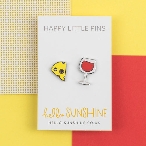 Cheese and Wine Pin Set