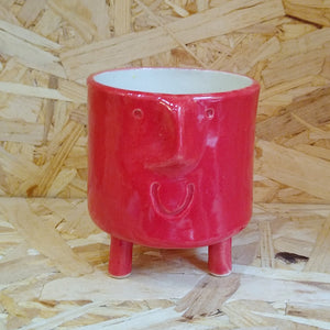 Small Funny Face Plant Pot Red