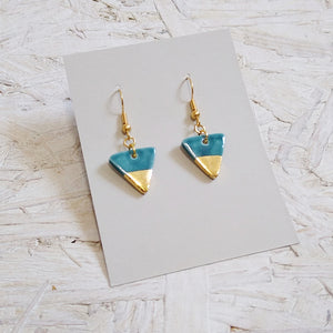 Small Turquoise & Gold Triangle Dangle Earrings