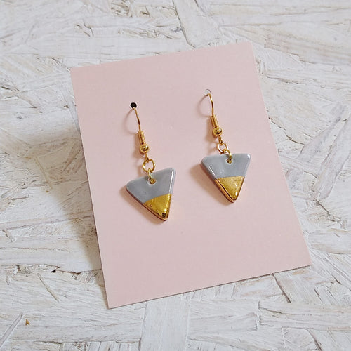 Small Grey & Gold Triangle Dangle Earrings