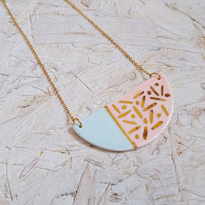 Pink & Aqua Gold Dash Bib Necklace