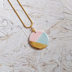 Pink & Aqua Gold Round Pendant Necklace