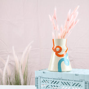 Turquoise and Orange Loop Vase