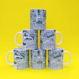 Nottingham Doodle Map Mug - seconds