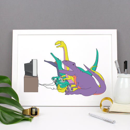 Dinosaur Video Game Print