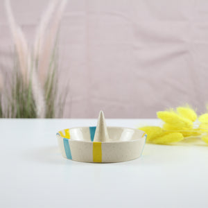 Ring Cone Dish (Turquoise and Yellow)