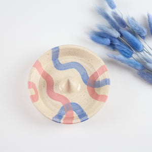 Ring Cone Dish (Blue and Pink)