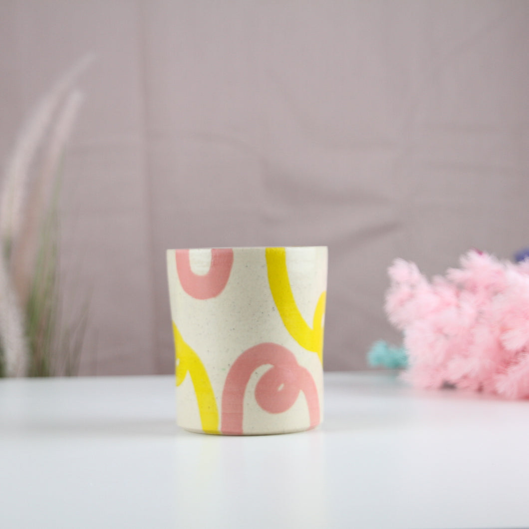 Yellow and Coral Loop Planter