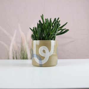 White and Blue Loop Planter