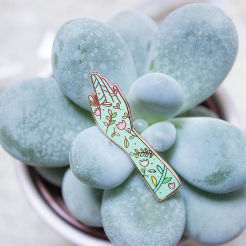 Green Fingers Enamel Pin