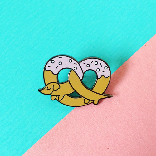 Pretzel Dog Enamel Pin