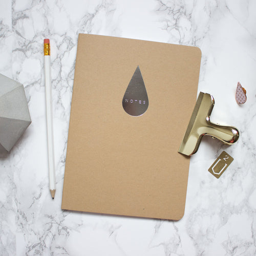 Kraft Silver Raindrop A5 Notebook