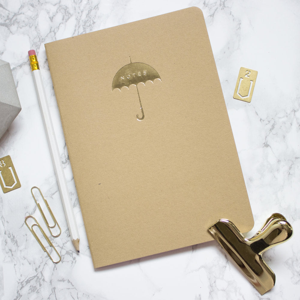 Kraft Gold Umbrella A5 Notebook