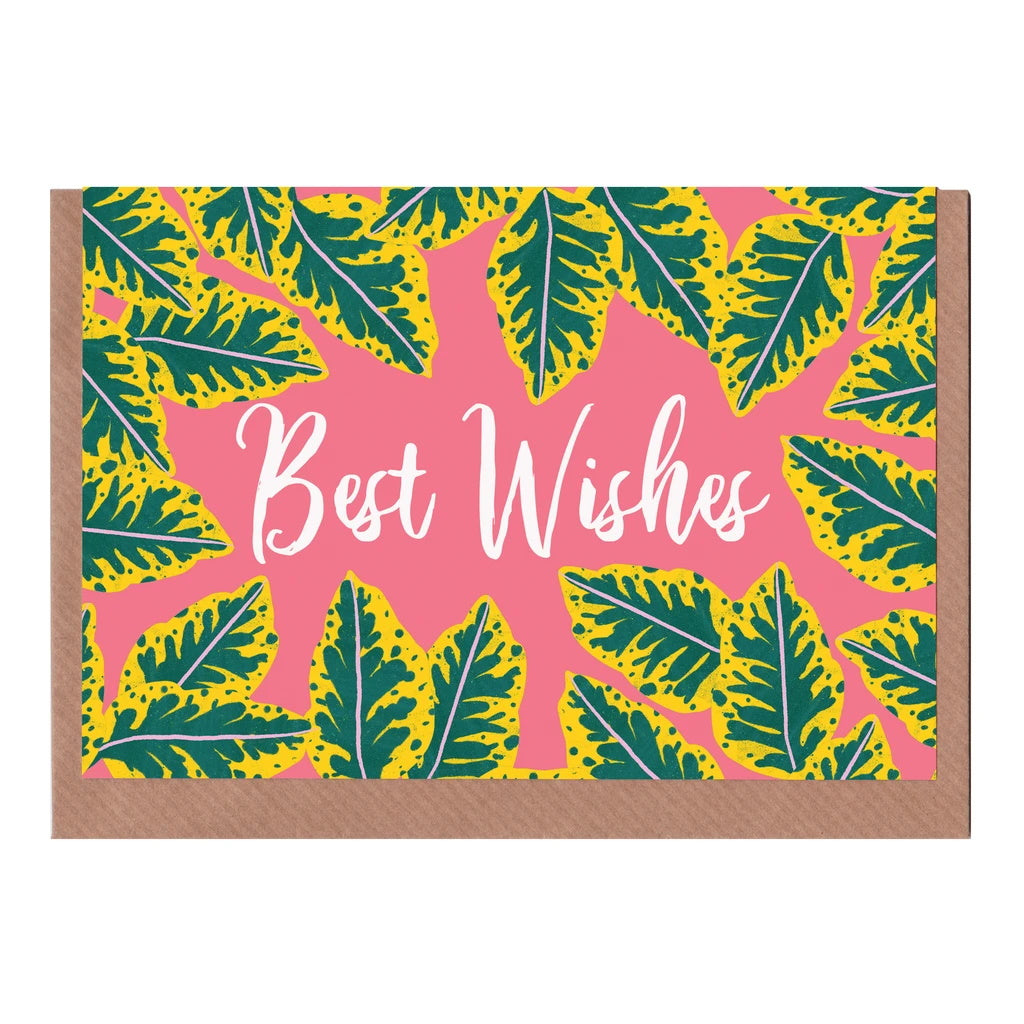 Best Wishes - Pink Calathea Card