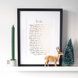 Gold Foiled Christmas To Do List - A4 Print