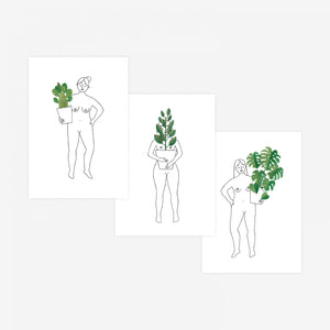 Plant Ladies Set of 3 Postcards