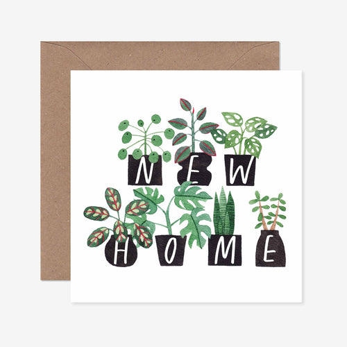 Potted Plants Happy New Home Greeting Card