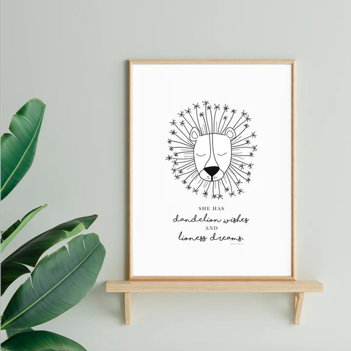 Dandelion Wishes and Lioness Dreams Print - J. Iron Wood Quote